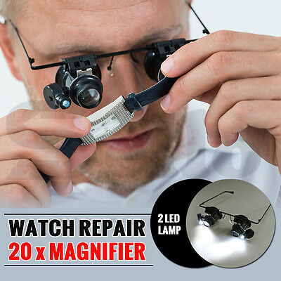 20x Headband Magnifier Jewellers Magnifying Glass Head Eye Led Lamp Len