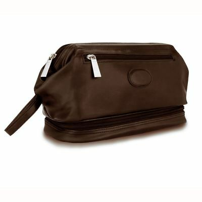 Mens Faux Leather Travel Toiletry Shaving Cosmetic Organizier Bag Case Brown