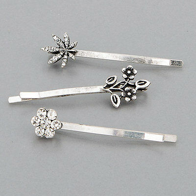 Three Silver Finish Vintage Classic Metal Floral Design Hair Accessories Pins