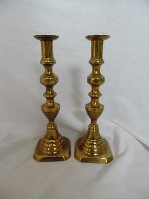 Pair of vintage solid brass English tall candlesticks