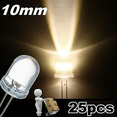 512/10# LED 10mm blanc chaud  20000mcd  -  10pcs - warm white LED