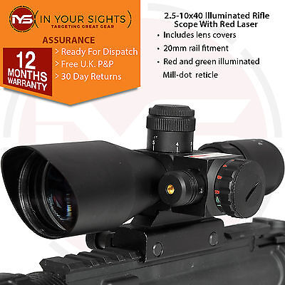 Tactical 2.5-10x 40 Illuminated Red &Green Mil-dot Rifle Scope with Red Laser