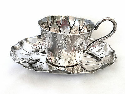 Magnificent Meiji Japanese Silver Snake & Lily Pad TeaCup & Saucer
