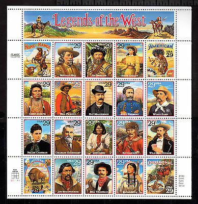 US # 2869 (1994) 29c - MNH - VF/XF - Legends of the West - Sheet of 20