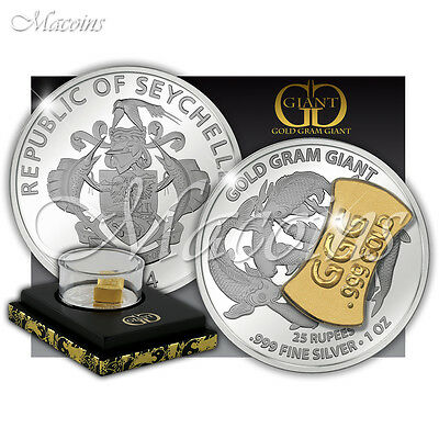 GOLD GRAM GIANT ASIAN EDITION 2014 Seychelles 1Oz 999 Silver Coin & 1g Gold Bar