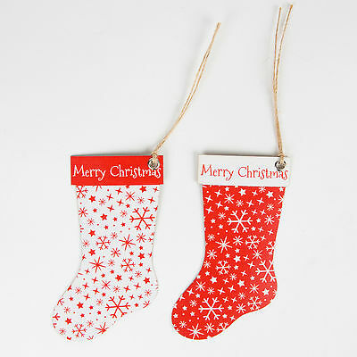 Sass & Belle Red & White Set of 10 Festive Snowflake Stockings Gift Tags 11x6cm