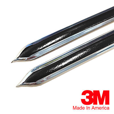 "Vintage Style 7/8"" Black & Chrome Side Body Trim Molding - Formed Pointed Ends"