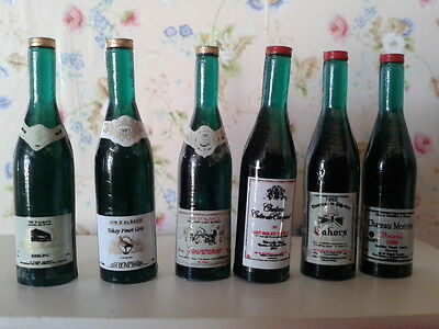 Dolls House Miniatures 1/12th Scale Accessory 6 Bottles of Red Wine D405 New