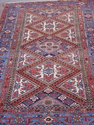 "4'5"" X 6'8""  Lovely Antique N. W. Karaja Persian Hand Knotted Wool Oriental Rug"