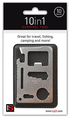10 in 1 SURVIVAL TOOL -Flat Multi Tool Credit Card Travel Size Stainless Steel *