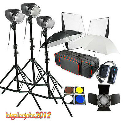 Studio Flash Kit 540W fotografía luz 3 x 180W retrato iluminación intermitente