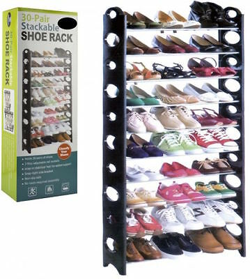 30 Pair STACKABLE SHOE RACK 10 Tiers Storage Shelf Holder Shoes Organiser New