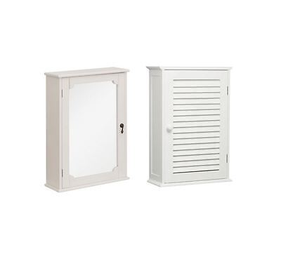 Marcella Bathroom Wall Cabinet White Wood with Mirror/Ivory MDF