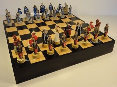 KING ARTHUR CAMELOT Medieval Times Chess Set BLACK & MAPLE WOOD STORAGE Board