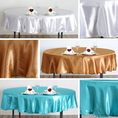 "20 pcs 90"" ROUND Satin TABLECLOTHS Wedding Party Linens Discounted Decorations"