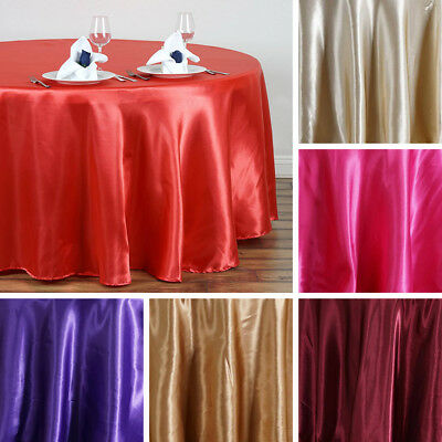 "10 pcs 108"" ROUND Satin TABLECLOTHS Wedding Party Event Banquet Reception Linens"