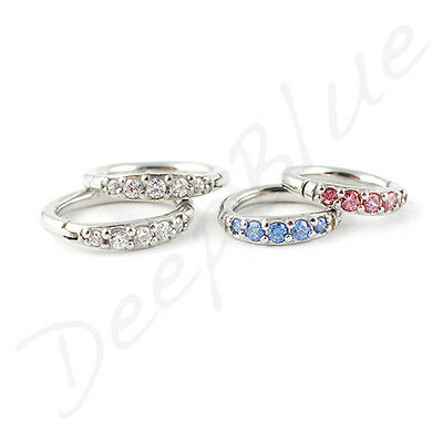 HINGED Micro SEGMENT RING SURGICAL STEEL with MULTI PAVE-SET CRYSTALS  1.2mm Ear
