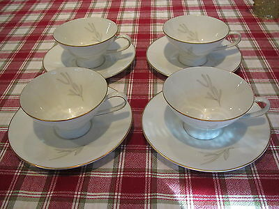 1960's Rosenthal #3687 4 white w gold trim & blades of grass coffee cups &saucer