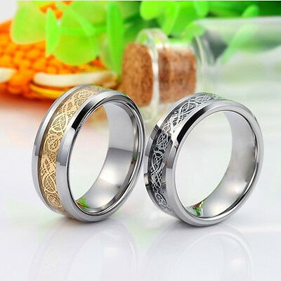 SZ 8-12 Men Gold Silver Dragon Stainless Steel Rings Wedding Band Ring Fashion