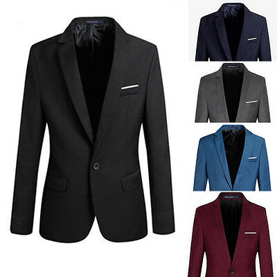 Mens Men Casual Slim Fit Formal One Button Suit Blazer Coat Jacket Tops Stylish