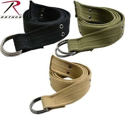 """Web Belt 1.75""""w Vintage Military D-Ring Cotton Or Lashing Strap 4147 Rothco"""
