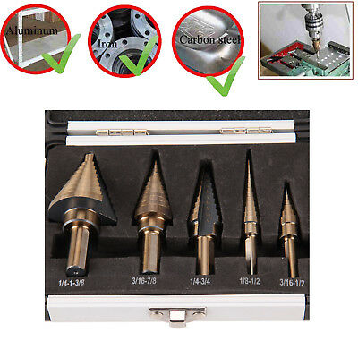 5pcs Cobalt Multiple Hole 50 Sizes Step Drill Bit Set Tool With Aluminum Case