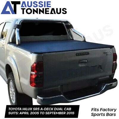 Toyota Hilux SR5 Dual Cab Clip On Ute Tonneau Cover to fit Sportsbar 05 to 2015