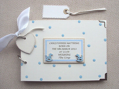 PERSONALISED  new baby/christening.  .A5 SIZE. PHOTO ALBUM/SCRAPBOOK/MEMORY BOOK