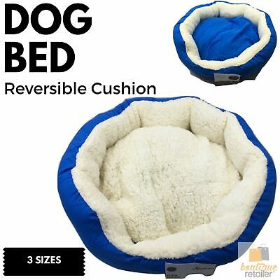 DOG BED Reversible Pet Cat Puppy Winter Soft Warm Comfy Cushion Plush Fleece New