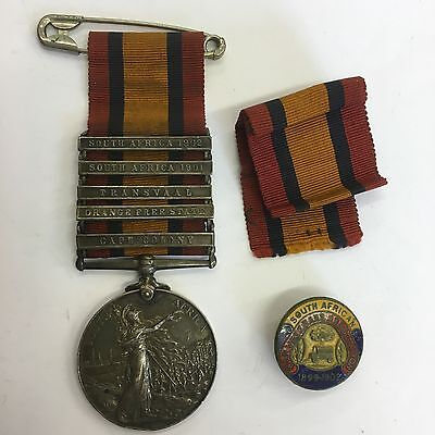 Queens South Africa Medal Essex Rgt 7062 Pte C W Taylor 5 Clasps Transvaal Cape