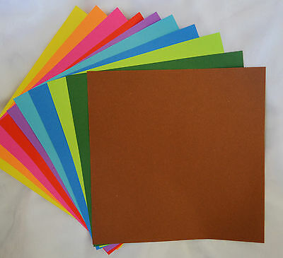 100 SHEETS DOUBLE SIDED 20 x 20cm SQUARE 10 COLOURS ORIGAMI PAPER FOLDING CRAFT