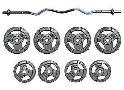 cast iron tri grip Barbell Set Triceps Curl Bar Weight Plate Training 25-35kg