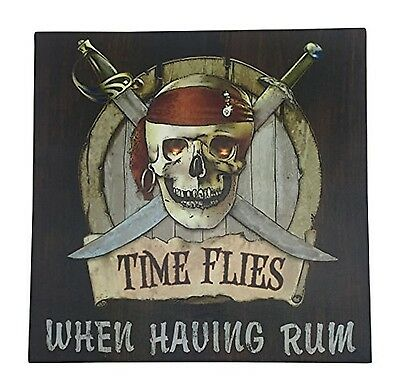 """Pirate Skull and Crossbones Sign Canvas Wall Art with LED Light - 11.75"""" Square"""
