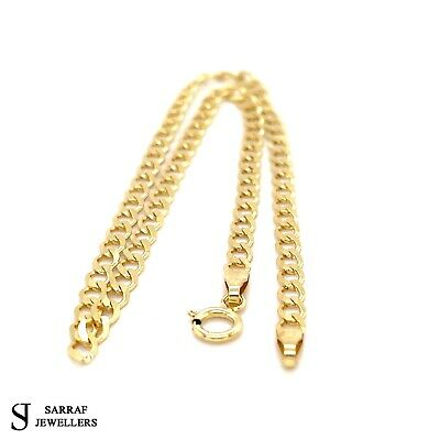 """Solid 9ct Yellow Gold Curb Chain Anklet Hallmarked 10"""" FREE UK POST *NEW*"""