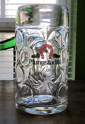 Vintage Large Glass Beer Mug Pfungstadter Bier Germany 8'' Tall Heavy Red Green