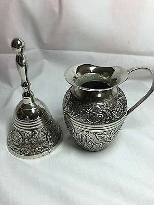 Silver Colored Bell And Creamer 112515