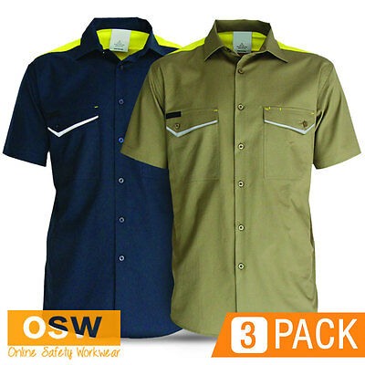 3 X Mens Khaki/Navy Cotton Air Vented Cool Dry Ripstop Light-Weight Shirt
