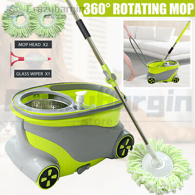 Magic 360 Degree Spinning Mop & Stainless Steel Spin Dry Bucket W/ 2X Mop Heads