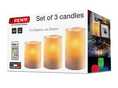 Set 3 Candele Luce A Led Decorative A Batteria In Vera Cera Con Telecomando