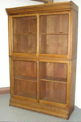 ANTIQUE BARRISTER BOOKCASE Stack Lawyer's Bookcase MISSON OAK Sliding Doors