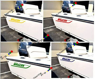 2 Decals sticker for Boston Whaler Boat cover soft seat bimini top fender loader