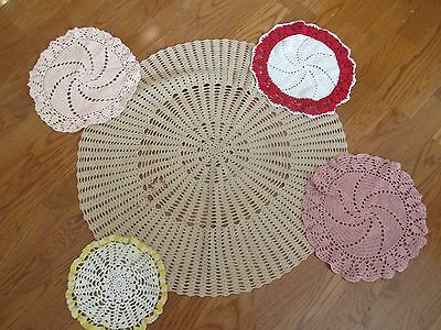 Lot of 5 Vintage Hand Made Crocheted Doilies Doily