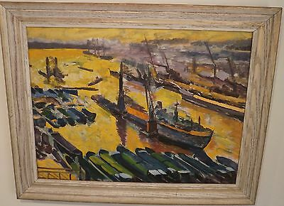 Busy Newark/New York Harbor Fauve/Expressionist Oil Painting-1960s-I.L. Winarsky