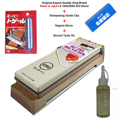 King Sharpening Stone Water Whetstone KW-65 1000/6000 Grit Nagura Clip Oil Japan