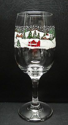 Libbey Winter Village Water Goblet Christmas Snow