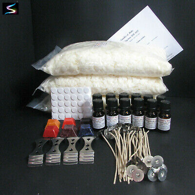 Large Candle Making Kit Supplies- 3kg 100% Soy Wax - Wicks-Dye Blocks- Stickums