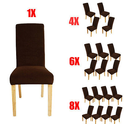 1/4/6/8pcs Soft Chair Covers Dining Room Stretch Slipcover Protector Washable