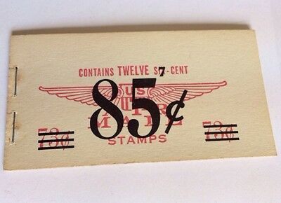 Vintage Us Air Mail Corrected Booklet 1958 Twelve 6c 73c Changed To 7c 85c