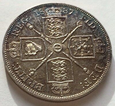 Antique 1887 Victoria Victorian Jubilee Head Silver Double Florin Coin
