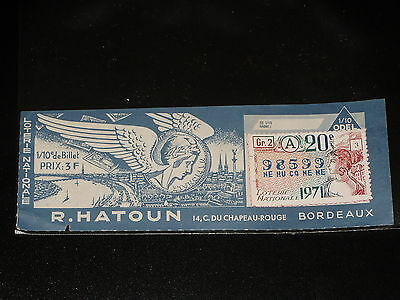 1/10 e -  R. HATOUN - BORDEAUX - SERIE A - 1971 - LOTERIE NATIONALE